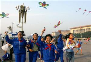Flying kites in Tian'anmen Square