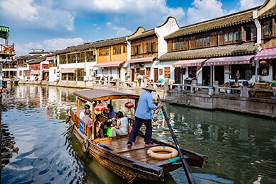 Gondola Ride in the Zhujiajiao Waterway""