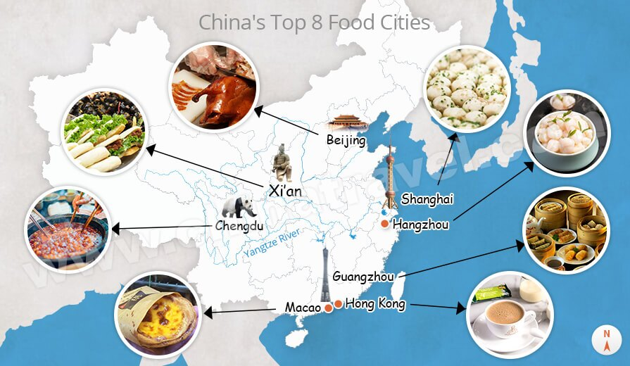 Top 8 Food Cities In China Food Map Of China