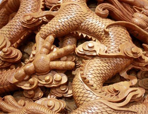 Wood Dragon Carvings